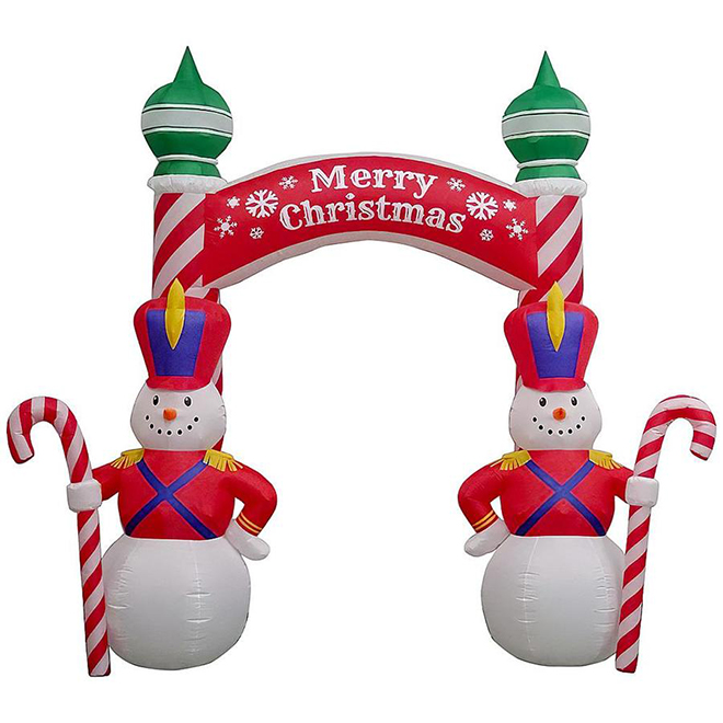 Gemmy Inflatable Illuminated Decoration - Archway Snowman - 9-ft - Multicolour