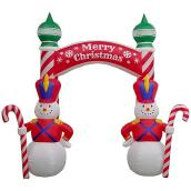 Gemmy Inflatable Illuminated Decoration - Archway Snowman - 9 x 9 x 3.2-ft - Multicolour
