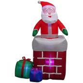 Gemmy Animated and Illuminated Inflatable Decoration - Santa Climbing from Chimney - 5-ft - Multicolour