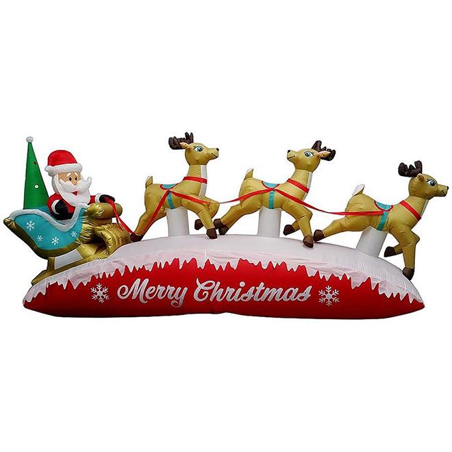 Gemmy Illuminated Inflatable Decoration - Santa with Sleigh - 13-ft - Multicolour