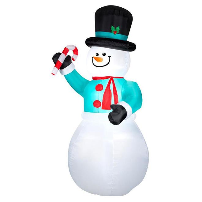 Gemmy Inflatable Giant Snowman - 9 LED Lights - 12-ft - Multicolour