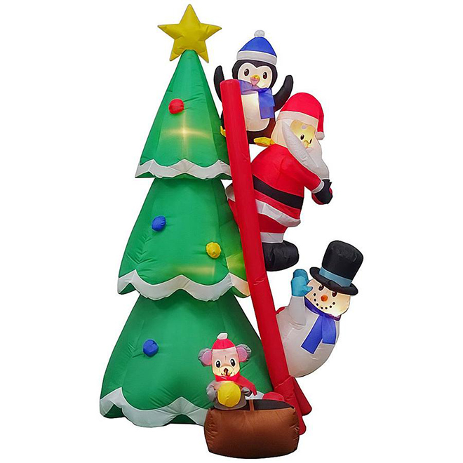 Gemmy Inflatable Christmas Tree and Decorations with Ladder, Santa Claus and Friends
