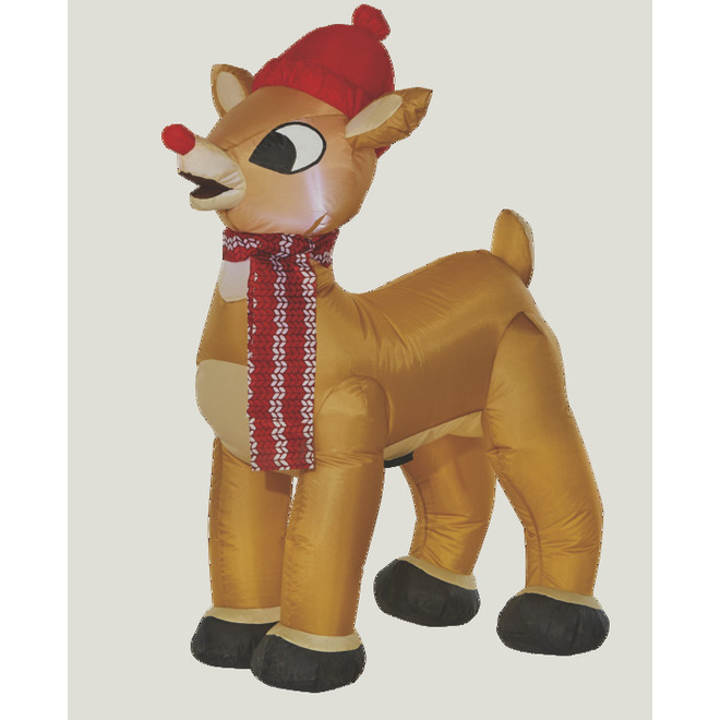 Gemmy Inflatable Rudolph with Hat - Polyester