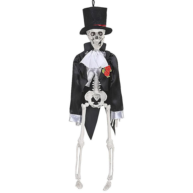 Squelette de marié avec chapeau haut Holiday Living, 16 po