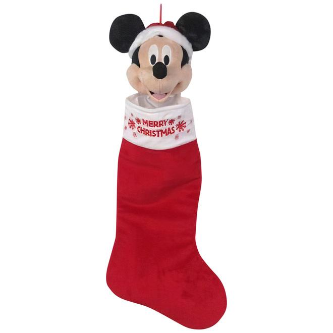Bas de Noël Mickey Mouse, Disney, peluche et mousse, 21 po, rouge