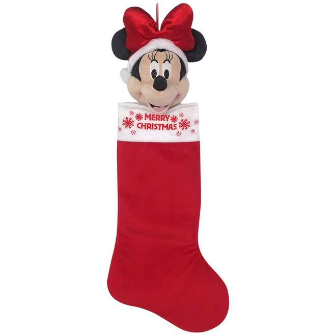Disney Minnie Mouse Christmas Stocking - Plush Fabric and Foam - 21-in - Red