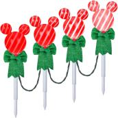 Disney Light Show Pathway Stakes - Mickey Head - White and Red - 4/Pack