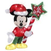 Disney Mickey Mouse 3D Holiday Lighted Tinsel Sculpture with Sign - 28-in - Multicolour