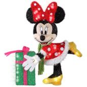 Disney 3D Lighted Minnie Mouse and Gift - Tinsel Fabric and Metal - 28-in - Multicolour