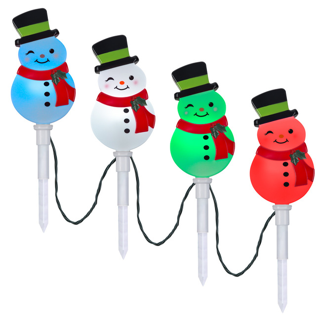 Gemmy ColorMotion Pathway Stake Lights - Snowman - Multicolour - Set of 4