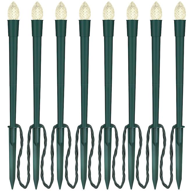 Lumières sur piquets Gemmy, Diamond Sparkle, 8 lumières, C9, plastique, vert