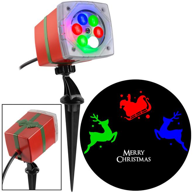 Gemmy Merry Xmas Projector - 3.38-in x 4.96-in x 11.7-in - Multi