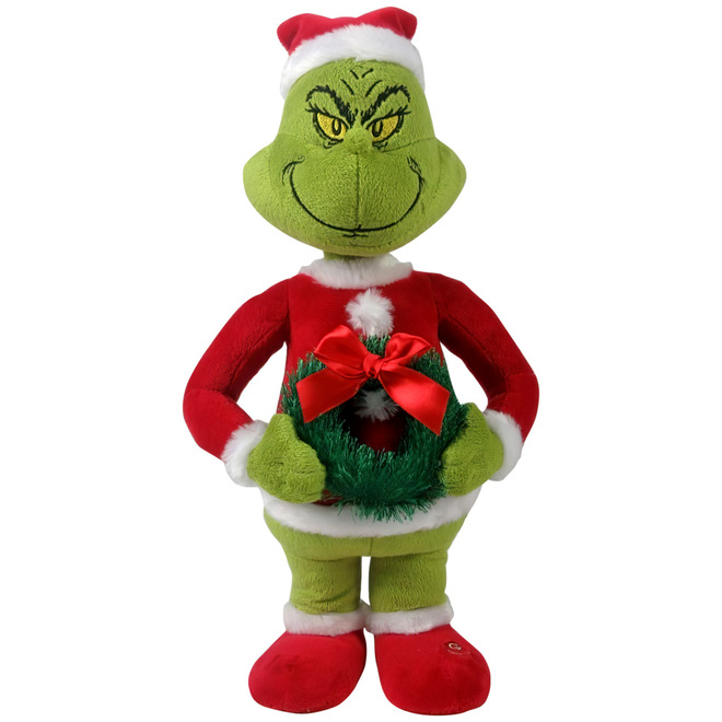 Gemmy Grinch in Santa Suit and Wreath - Dr Seuss - 12-in