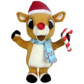 Gemmy Waddler-Rudolph with Scarf and Candy Cane -13-in