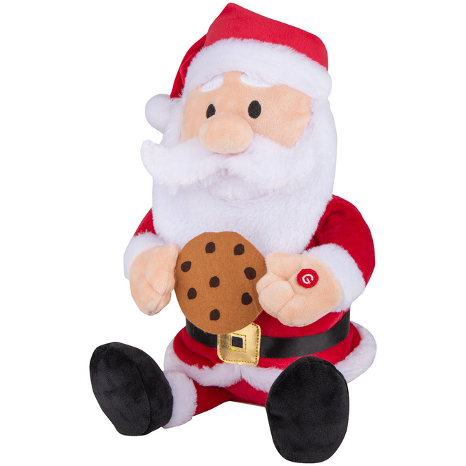 Gemmy Animated Plush Dancing Santa with Cookie - 11.8-in