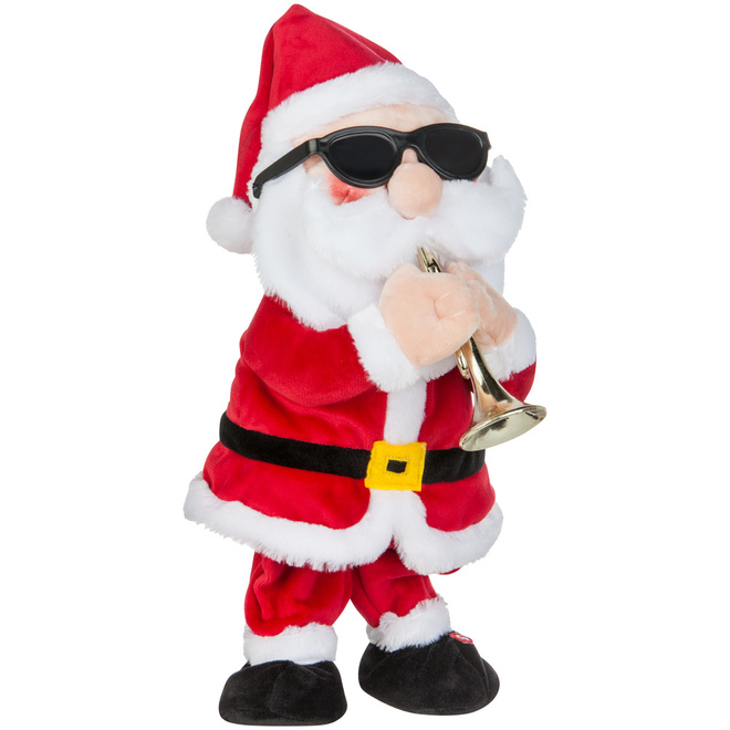 Gemmy Animated Plus Santa Claus Trumpet Player - 14.5-in