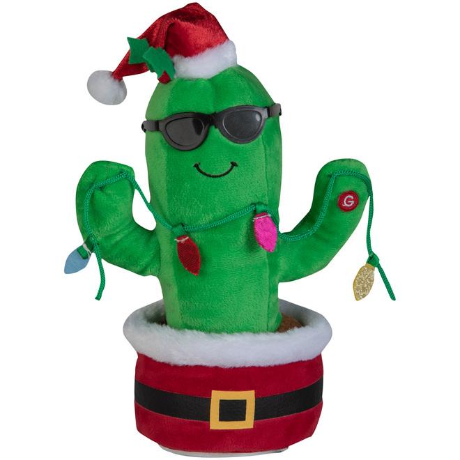 Gemmy Animated Plush Waving Christmas Cactus - 11.4-in