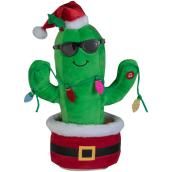 Gemmy Animated Plush Waving Christmas Cactus - 11.4-in