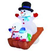 Gemmy 5-ft Snowman White Light Family Scene Xmas Inflatable