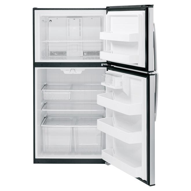 Réfrigérateur à congélateur en haut GE, 33 po, 21,2 pi³, inox