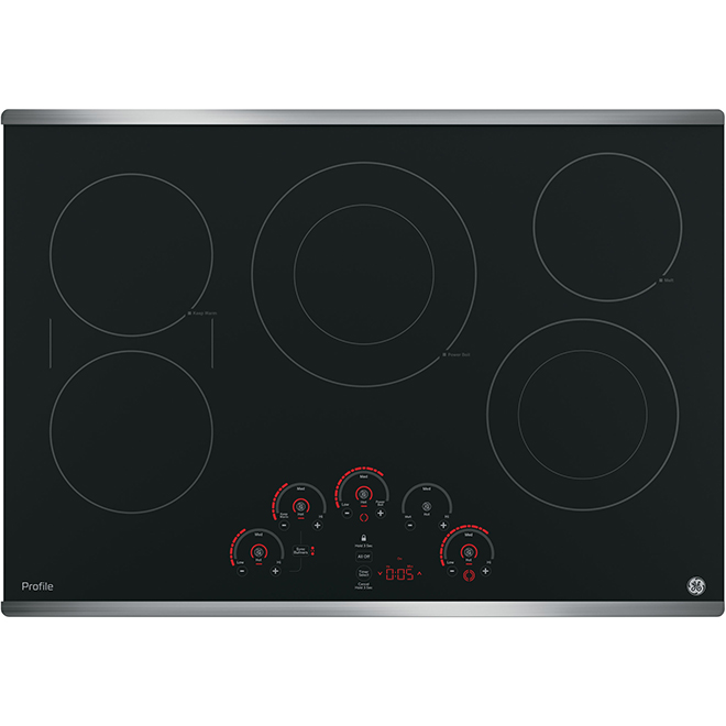 GE Profile Electric Cooktop with 5 Elements - 30-in - Stainless Steel