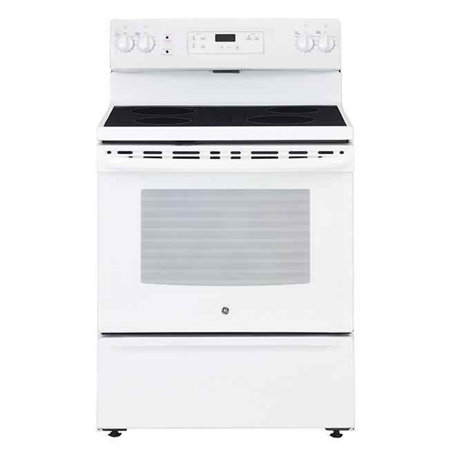"""Cuisinière à surface de cuisson lisse, 5 pi³, 30"""", blanc"""