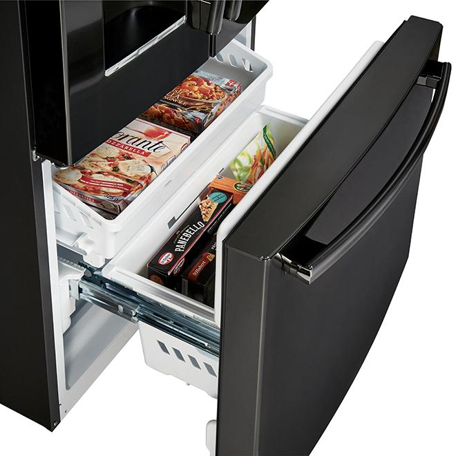 """Réfrigérateur à portes françaises, 33"""", 17,5 pi³, inox noir"""