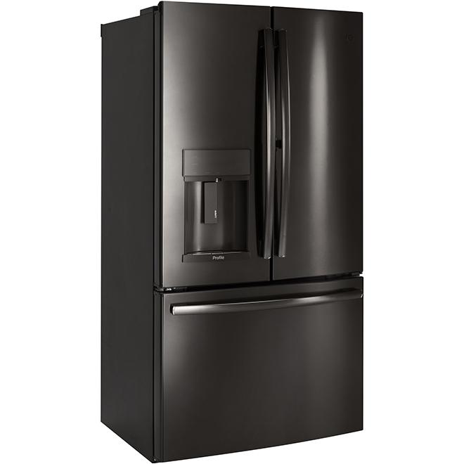 """Réfrigérateur à portes françaises, 36"""", 22,2 pi³, inox noir"""