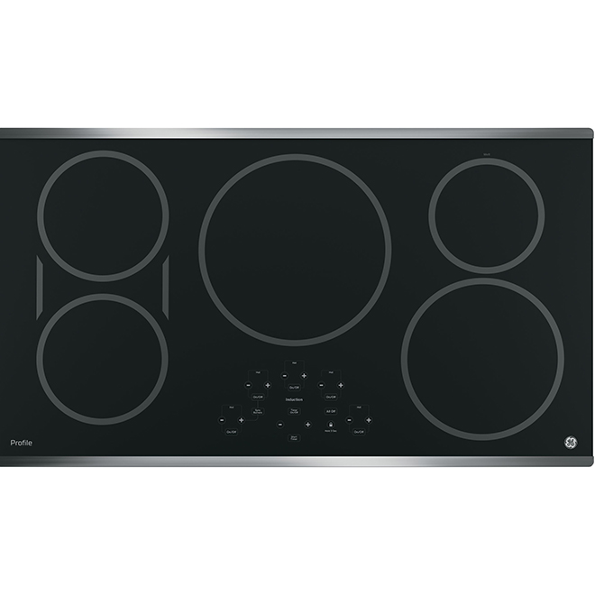 Surface de cuisson à induction avec élément-pont GE Profile, 36 po, acier inoxydable noir