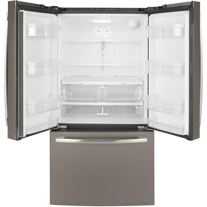 Réfrigérateur à portes françaises GE, 36 po, 26,7 pi³, ardoise