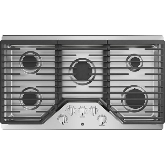 """Surface de cuisson au gaz à 5 brûleurs, 36"""", acier inoxydable"""