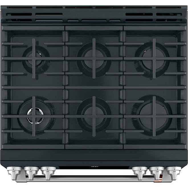"""Café(TM) Dual-Fuel Range - Slide-In - 6 Burners - 30"""" - Black"""