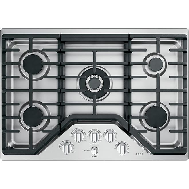Boutons, table de cuisson au gaz, GE Café(MD), inox brossé