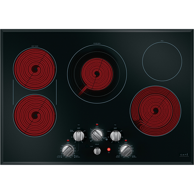 "Electric Cooktop - 5 Elements - 30"" - Black/Stainless Steel"