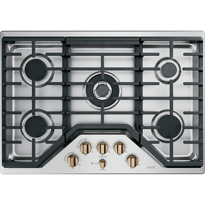 """Gas Cooktop - 5 Burners - 30"""" - Stainless Steel/Bronze"""