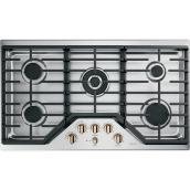 "GE Café Gas Cooktop- 5 Burners - 36""- Bronze/Stainless Steel"