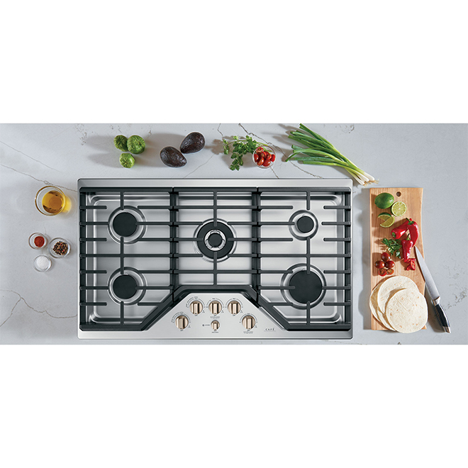 """GE Café Gas Cooktop- 5 Burners - 36""""- Bronze/Stainless Steel"""