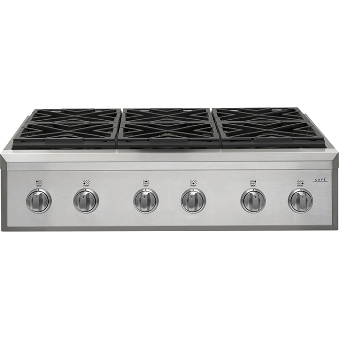 "GE Café Gas Cooktop - 6 Burners - 36"" - Stainless Steel"