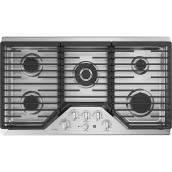 """Surface de cuisson GE Profile(MC) au gaz, 5 brûleurs, 36"""", inox"""