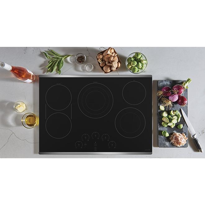 "Surface de cuisson GE Café(MC) en vitrocéramique, 36"", inox"