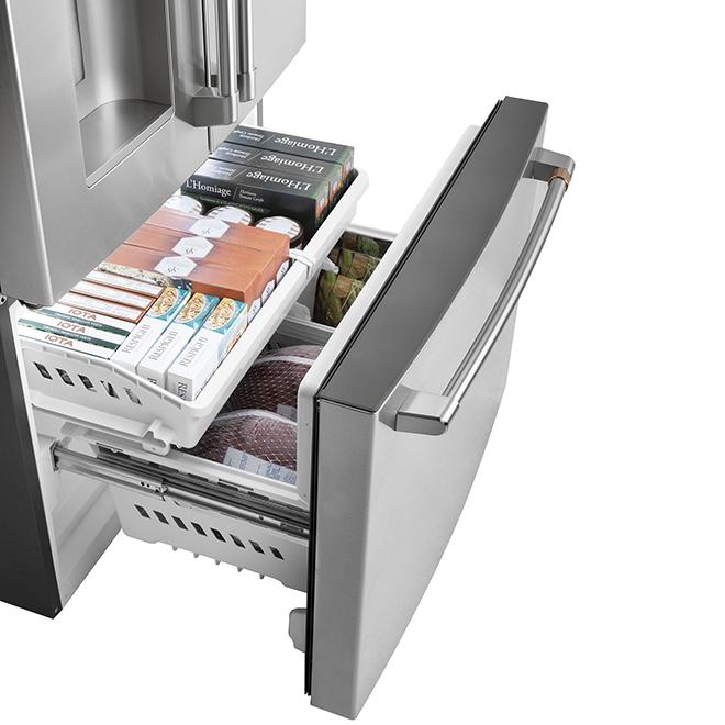 Réfrigérateur Café(MC) GE à portes françaises, 25,5 pi³, inox