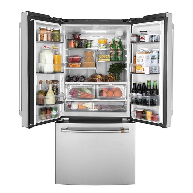 Réfrigérateur Café(MC) GE à portes françaises, 18,6 pi³, inox