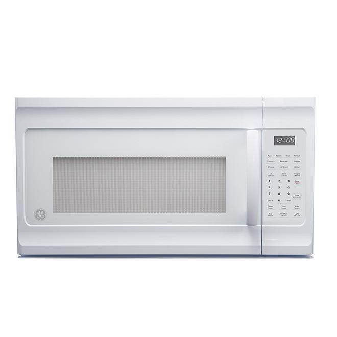 Four à micro-ondes à hotte intégrée GE Profile, 1,6 pi3, 1000 watts, blanc