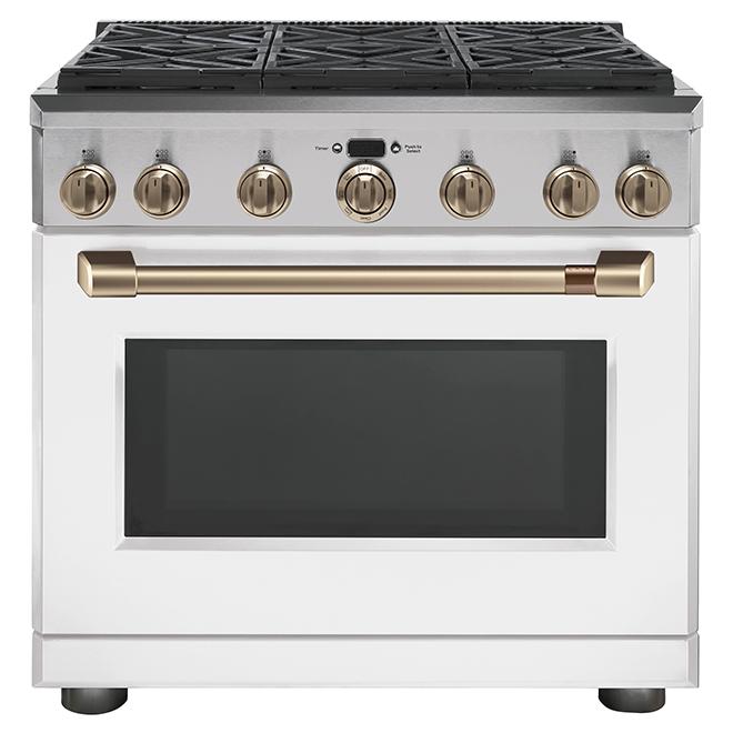 """Cuisinière bi-énergie Café(MC) à 6 brûleurs, 36"""", blanc mat"""