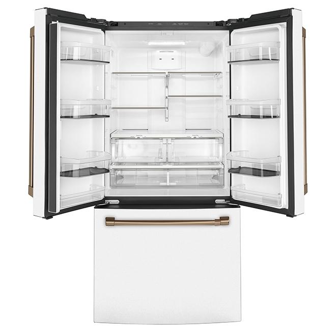 """Réfrigérateur à portes françaises GE Café, 33"""", 18,6 pi³, blanc"""