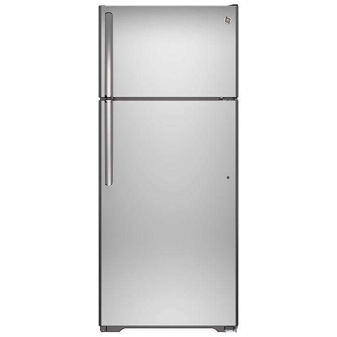 """Réfrigérateur à congélateur supérieur GE, 30"""", 18 pi³, acier inoxydable"""
