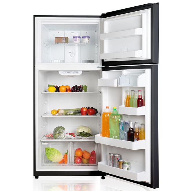 "GE - Top Freezer Refrigerator - 30"" - 18 cu. ft. - Black"