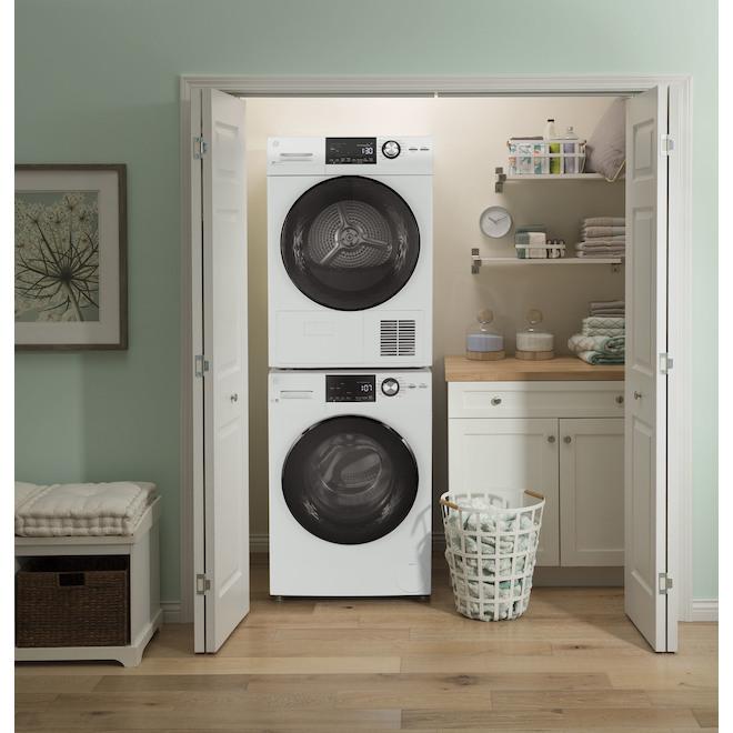 Sécheuse électrique GE, 4,1 pi³, compact, empilable, blanc