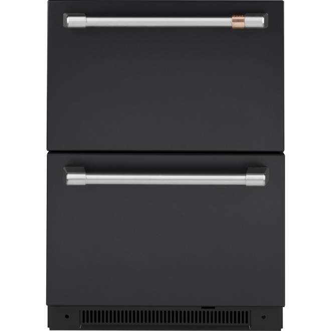 Réfrigérateur encastré à tiroir double, 5,7 pi³, noir mat