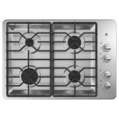 Plaque de cuisson encastrée GE Appliances à 4 brûleurs, 30 po, acier inoxydable